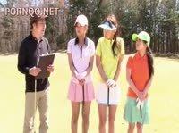 Веселая игра в гольф с озорными японками
