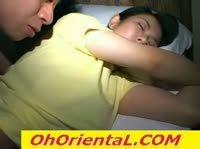 Шалун тискает за сиськи спящую сестру